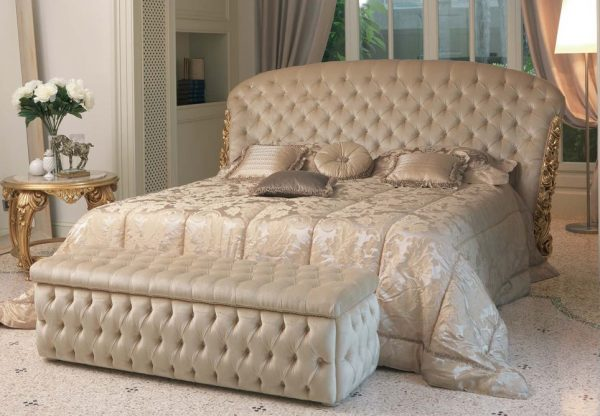 Comfortable bed with leather back front view