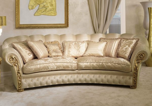 Greek style classic curved sofa cream colored double layered, spring cushioned, artistic, cozy, comfortable, high quality, 4 seater, 5 years warranty sofa