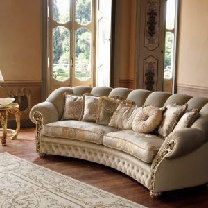 Greek style classic curved sofa cream colored double layered, spring cushioned, artistic, cozy, comfortable, high quality, seater, 5 years warranty sofa, floral back