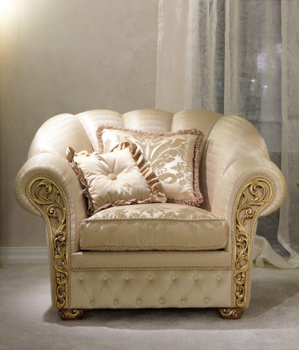 Greek style classic curved sofa cream colored double layered, spring cushioned, artistic, cozy, comfortable, high quality, 1 seater, 5 years warranty sofa, floral back